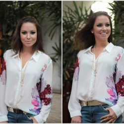 Camisa Floral e Jeans Destroyed