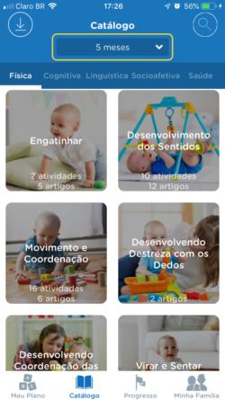 app para bebê - catálogo Kinedu