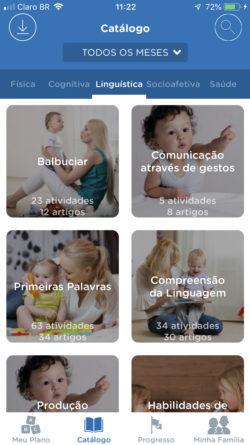 aplicativo de bebe - área linguística catálogo