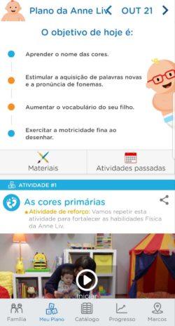 plano de atividades do app de desenvolvimento infantil Kinedu