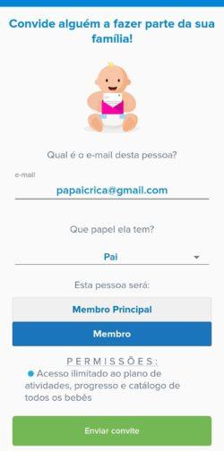 adicionar família no app para pais kinedu