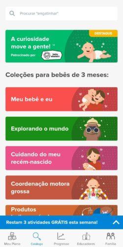 catálogo de atividades do app kinedu
