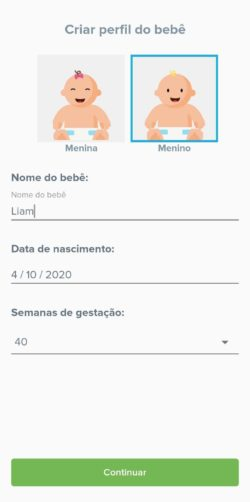 perfil do bebê no app kinedu